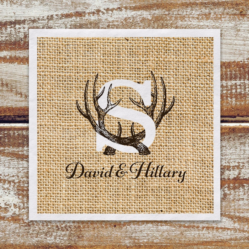 Rustic Wedding Cocktail Napkins Personalized Monogram Antler image 0