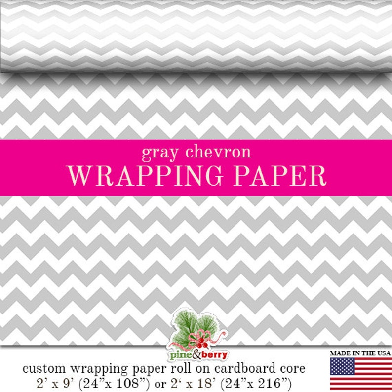 Gray Chevron Custom Premium Wrapping Paper  Grey Zig Zag Gift image 0