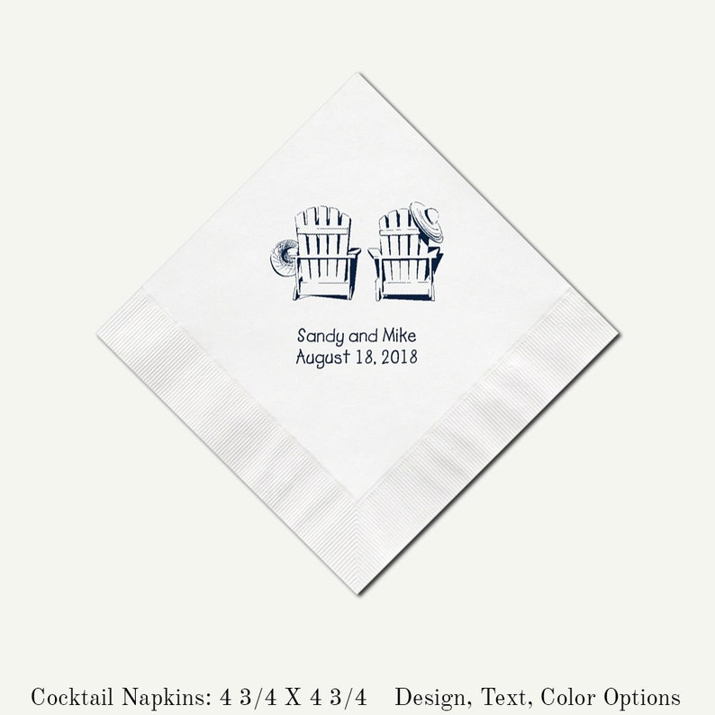 Beverage Napkins Adirondack Chairs   Personalized 3 Ply White image 0