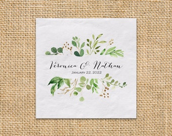 """Wedding Greenery Luncheon Napkins, Personalized Luncheon Napkins 3ply Paper Napkins, 6.5"""" X 6.5"""", Price Starts At 100 Napkins"""