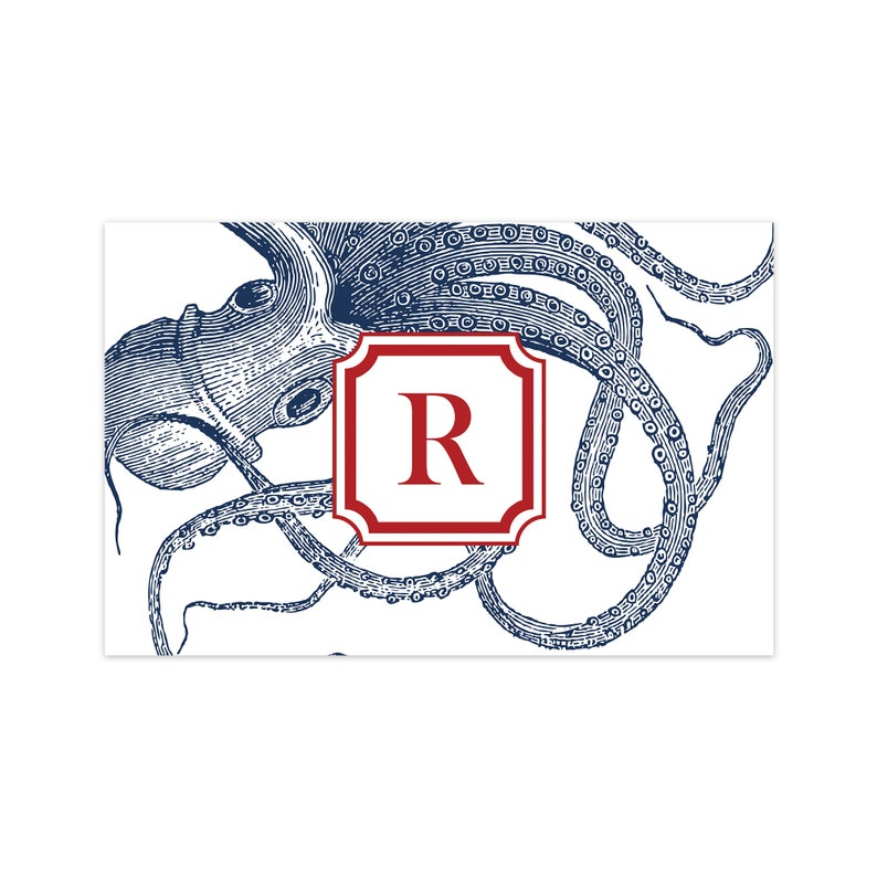 Personalized Monogram Octopus Paper Placemats Disposable image 0