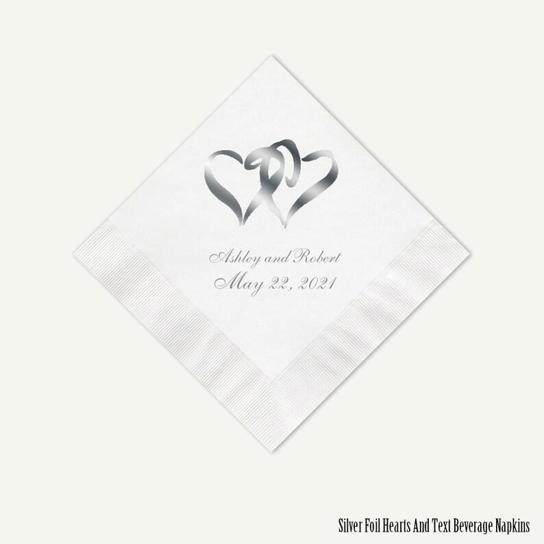 Silver Foil Hearts Wedding Cocktail Napkins  Personalized image 0