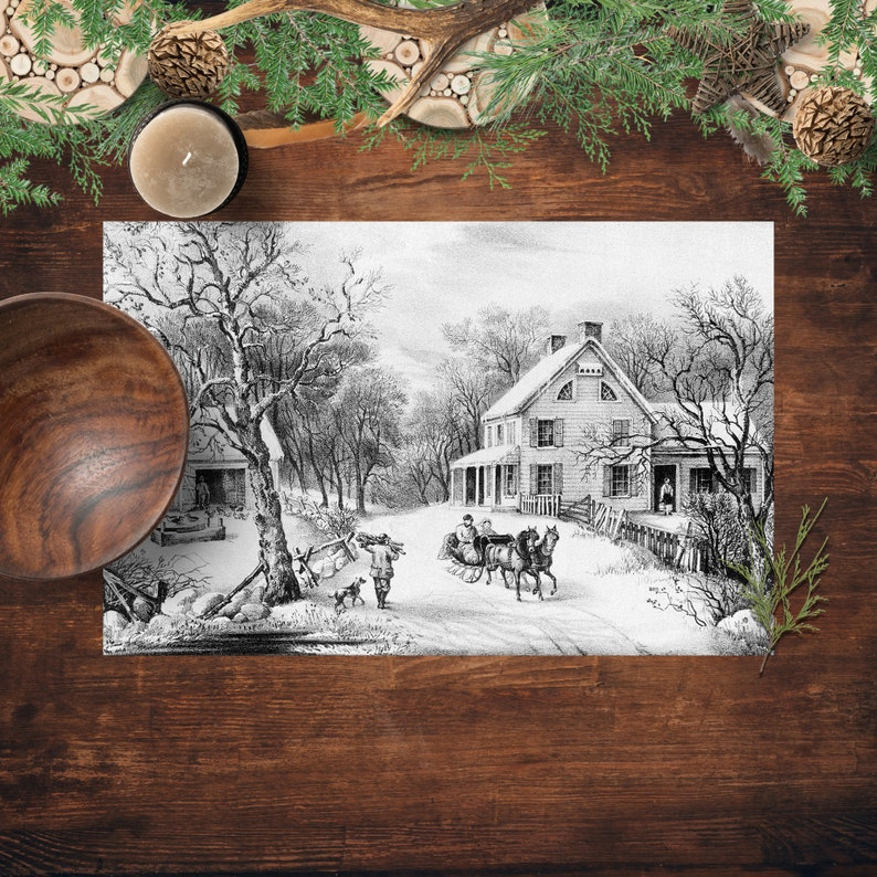 25 Paper Placemats Vintage Winter Scene Currier And Ives image 0