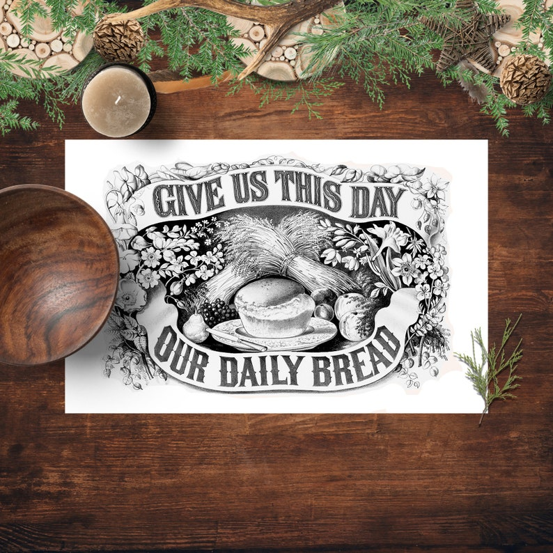 Placemats Give Us This Day Our Daily Bread Currier and Ives image 0