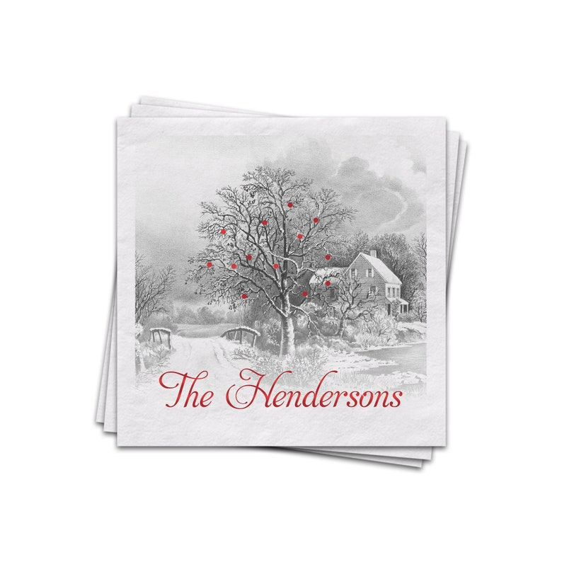Christmas Napkins Winter Scene Personalized Cocktail Napkins image 0