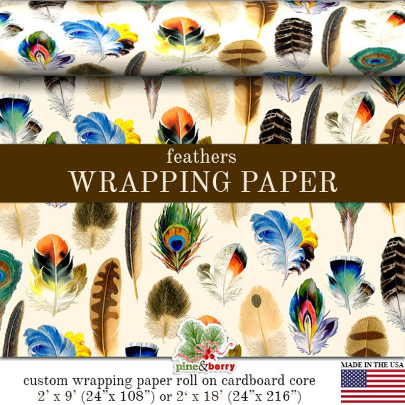 Feathers Wrapping Paper  Vintage Feather Art Gift Wrap Paper image 0