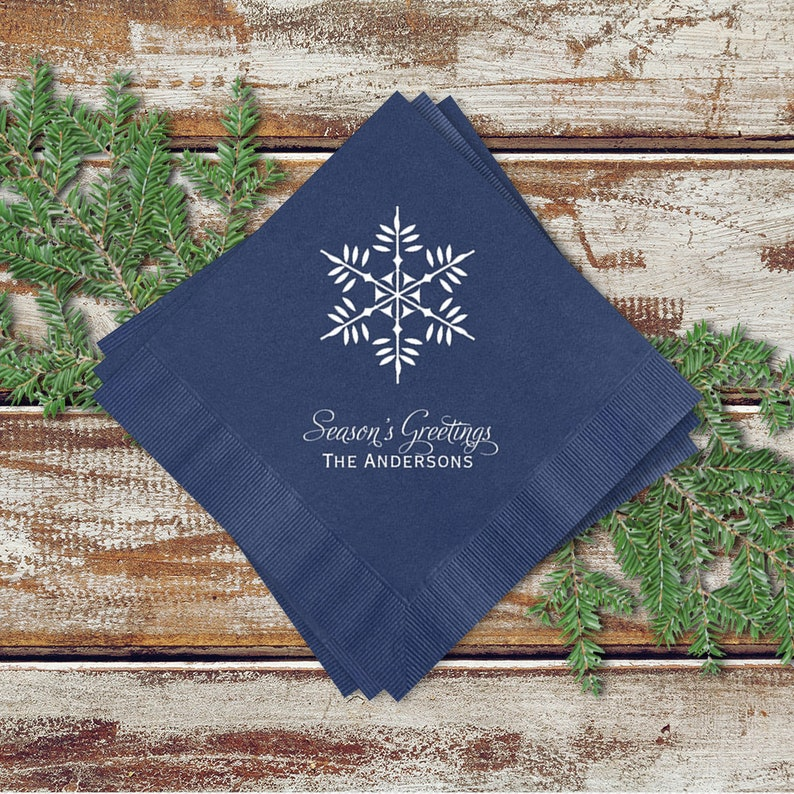 Holiday Party Cocktail Napkins Snowflake Design Personalized image 0