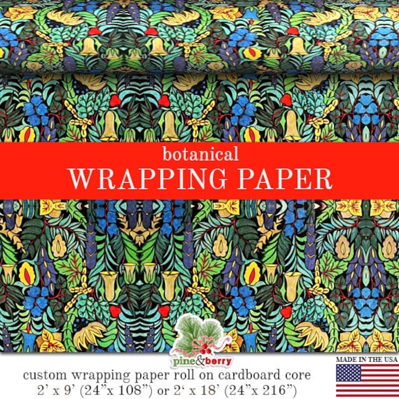 Botanical Wrapping Paper Roll  Colorful Botanical Abstract image 0