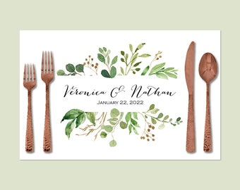 """Greenery Wedding Paper Placemats   Printed Paper Placemats Come In A Book of 25 Placemats 17"""" x 11"""" Inches, Easy Tear-Off Durable Paper Pad"""