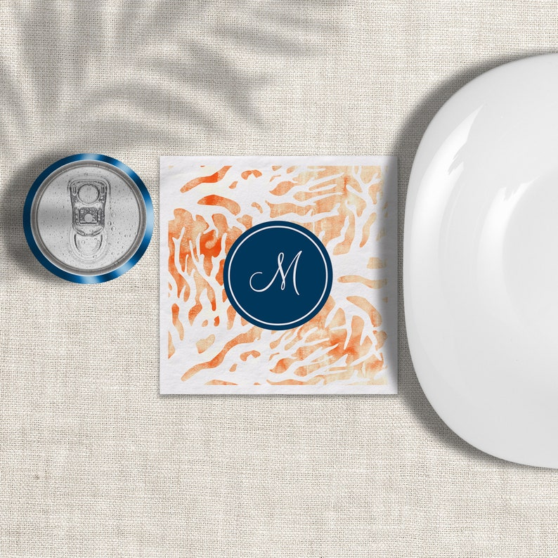 Coral Navy Beverage Napkins Personalize With Monogram 3 Ply image 0