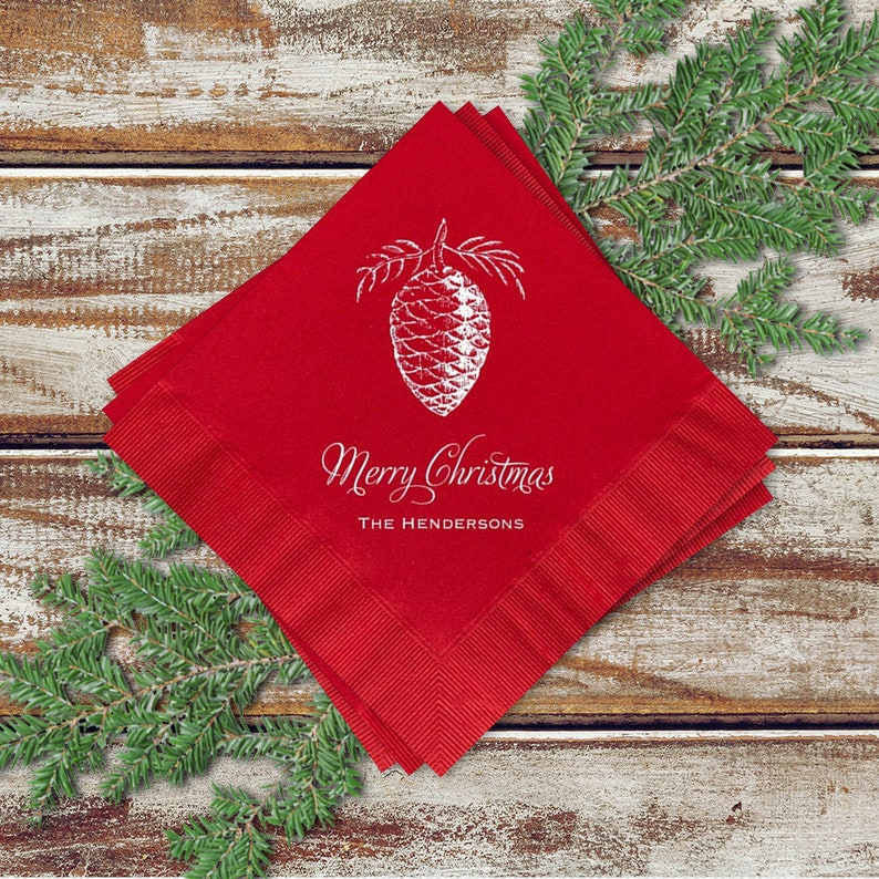 Christmas Party Cocktail Napkins Pine Cone Design On image 0