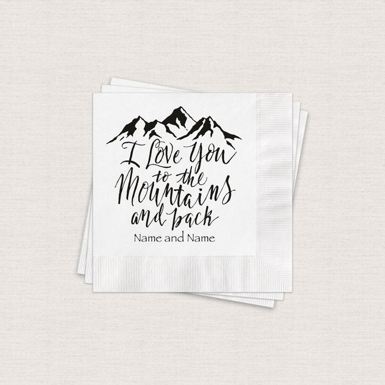 Mountain Wedding Napkins Personalized Cocktail Napkins Print image 0