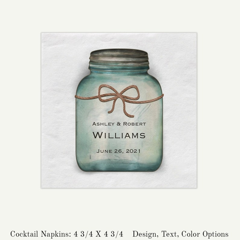 Rustic Wedding Mason Jar Personalized Beverage Napkins  image 0