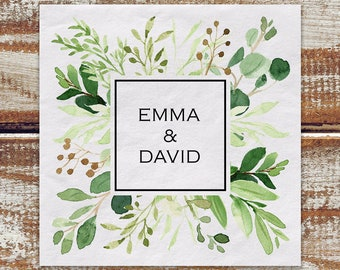 Wedding Greenery 100 Personalized Cocktail Napkins, Watercolor Greenery White 3 Ply Paper Beverage Napkins, Boho Wedding, Outdoor Wedding