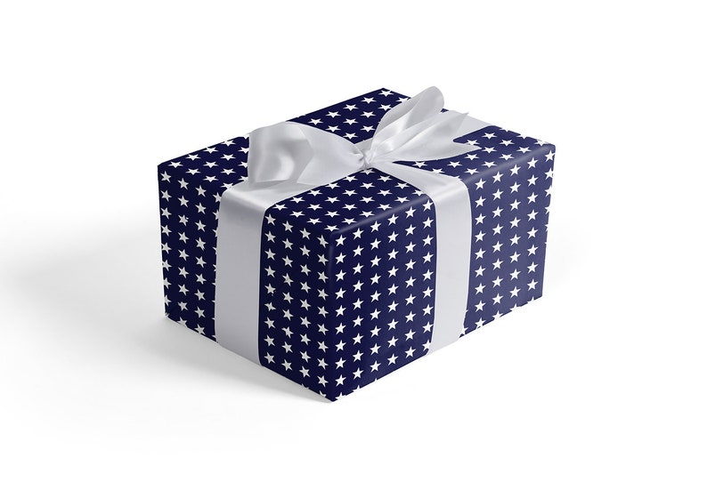 Gift Wrapping Paper Sheets Old Navy White Stars Each Sheet Is image 0