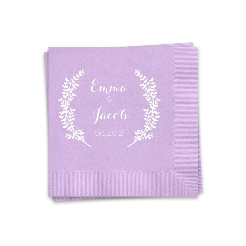 Lavender Wedding Napkins Personalized Cocktail Napkins White image 0