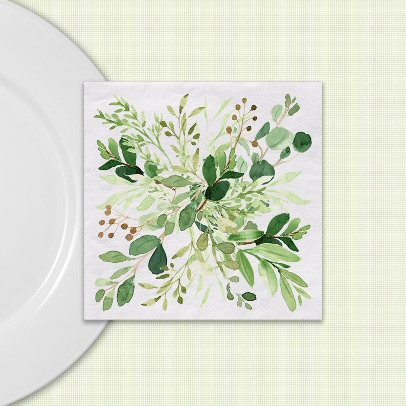 Greenery Napkins Watercolor Design Available In Dinner image 0