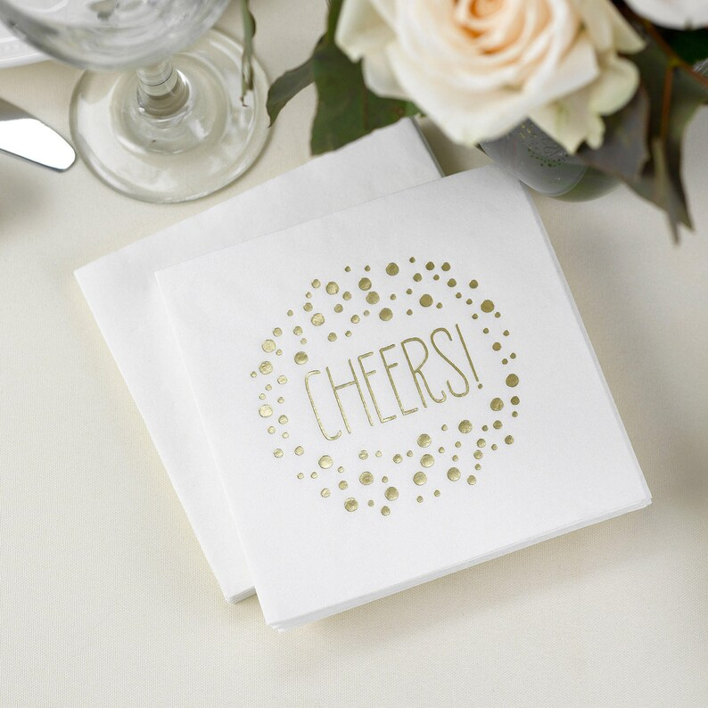 Cocktail Napkins White Beverage Napkins Cheers Dots Design image 0
