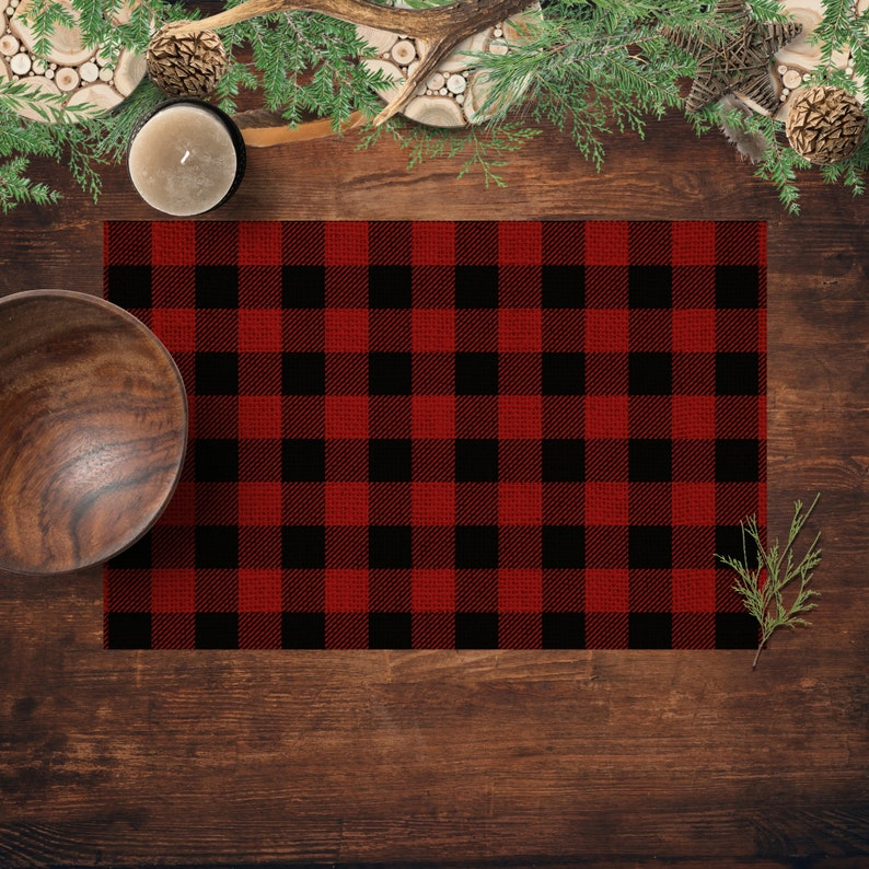 Buffalo Plaid Paper Placemats Rustic Country Kitchen and image 0