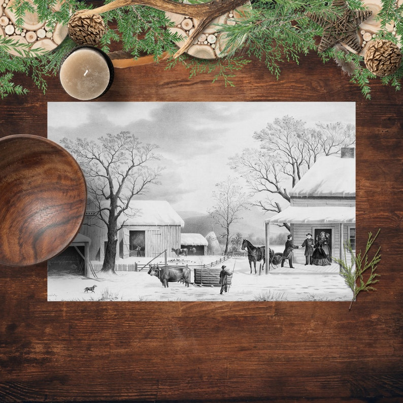 Holiday Party Placemats Currier And Ives Thanksgiving image 0