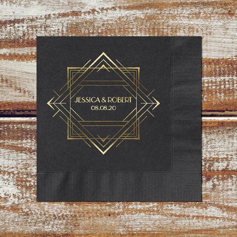 Art Deco Wedding Personalized Cocktail Wedding Napkins Paper image 0