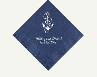 Navy Blue Cocktail Napkins Nautical Theme | 100 Personalized 3 Ply Navy Blue Beverage Napkins, More Quantities Available