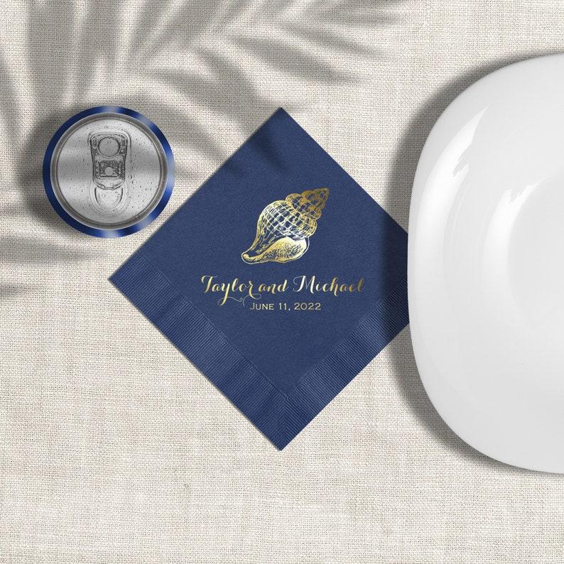 Navy Blue Personalized Beach Wedding Cocktail Napkins Seashell image 0