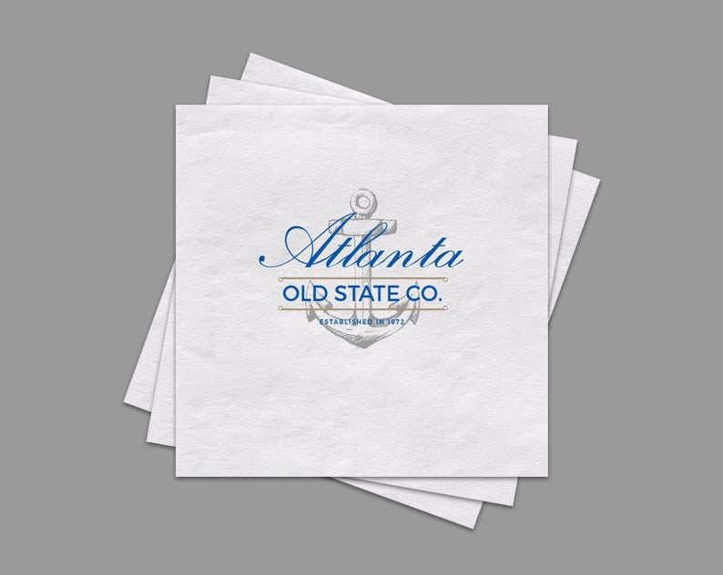 Full Color Logo Beverage Napkins Custom White Cocktail image 0