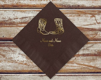 100 Country Wedding Cocktail Or Luncheon Napkins | Rustic Country Cowboy Boots Personalized Brown Beverage Or Luncheon Napkins