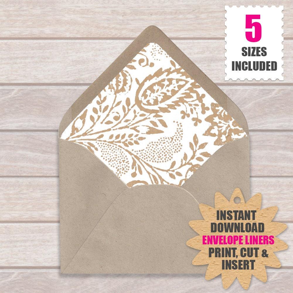 Envelope Liner Template Floral Kraft Download And Print Etsy
