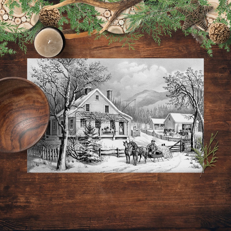 Paper Placemats Winter On The Farm Currier And Ives Vintage image 0