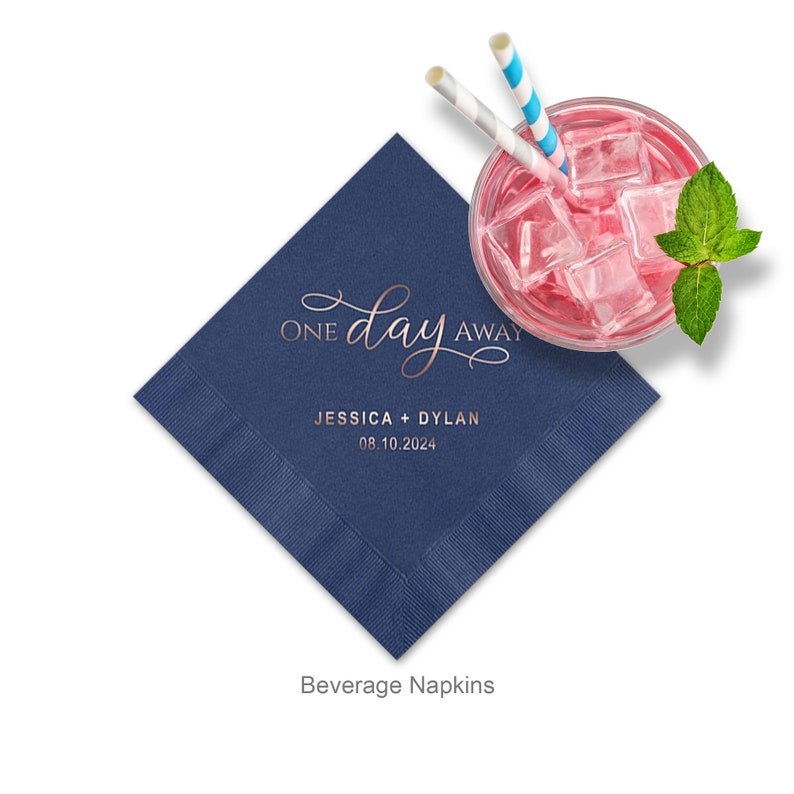 One Day Away Personalized Cocktail Napkins Wedding Rehearsal image 0