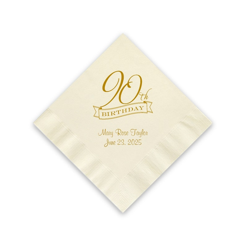 90th Birthday Party Napkins Personalized set of 100 Cocktail image 0