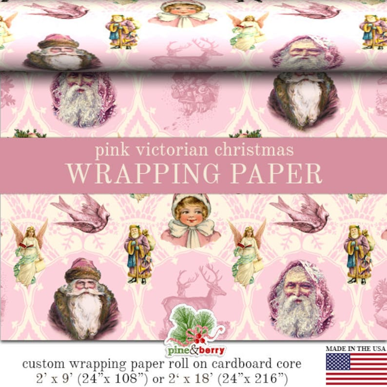 Victorian Pink Vintage Christmas Custom Gift Wrap In Two Sizes Great For A Pink Christmas Theme Pink Christmas Wrapping Paper Roll