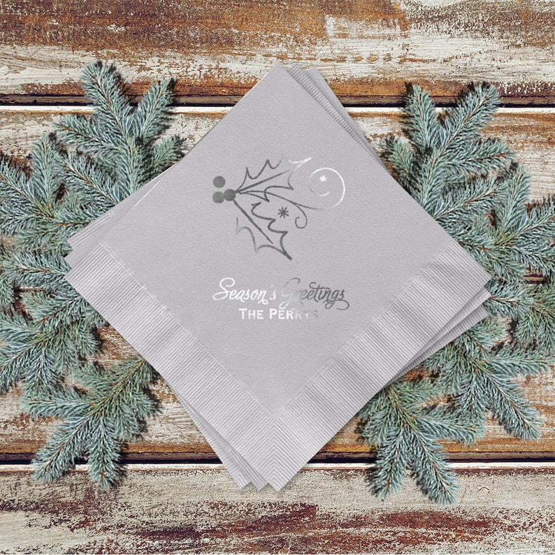 Christmas Party Gray Cocktail Napkins Holly Berry Design image 0