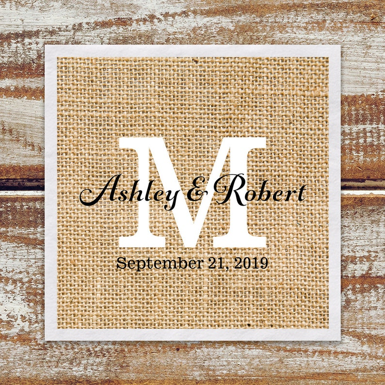 Cocktail Napkins Rustic Wedding Cocktail Napkins image 0