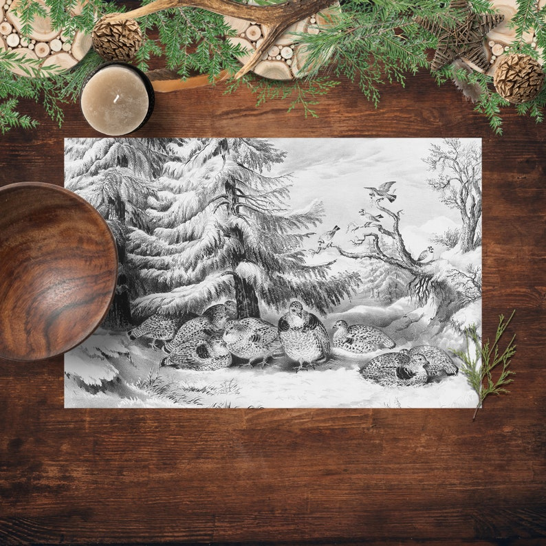 Winter Scene Paper Placemats Currier And Ives Printed Paper image 0