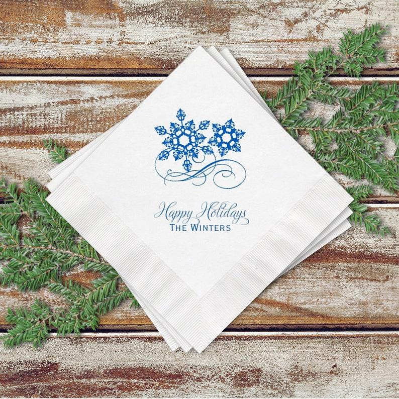 Holiday Party White Cocktail Napkins Snowflake Design image 0