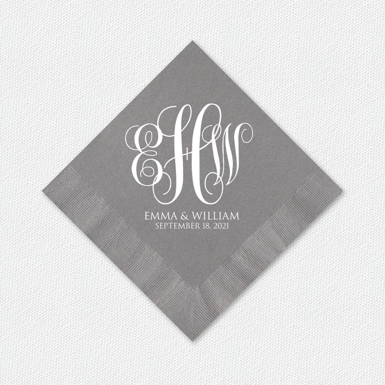 Personalized Monogram Napkins Three Letter Monograms Wedding image 0