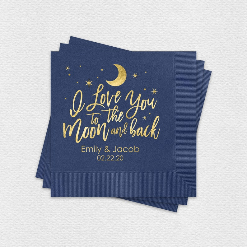 I Love You To The Moon And Back Personalized Cocktail Napkins image 0