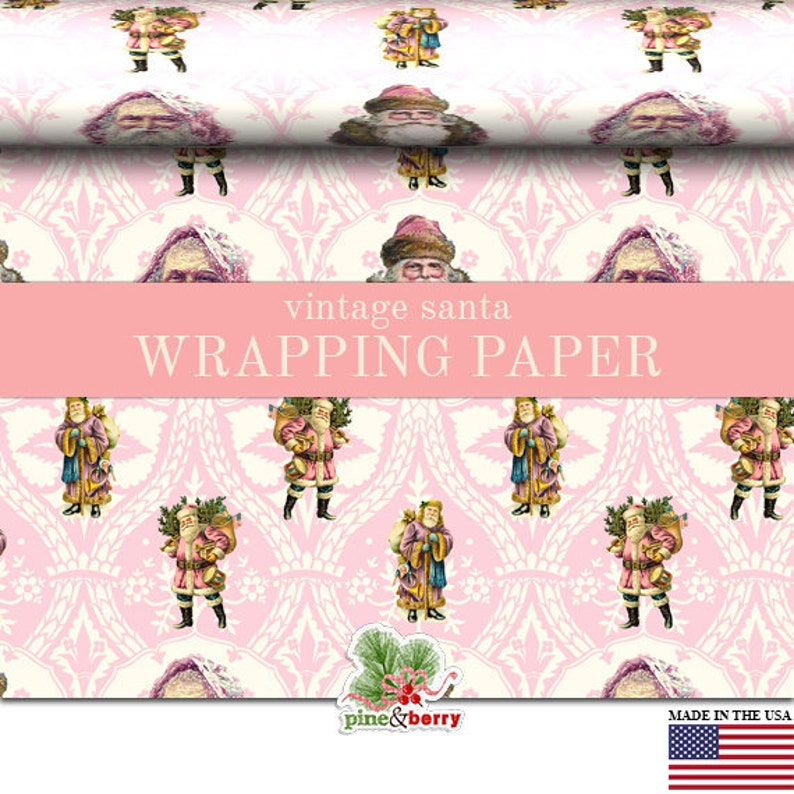 Victorian Santa Pink Christmas Wrapping Paper Roll Pink image 0
