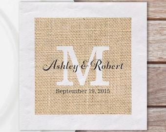 Luncheon Napkins, Custom Paper Luncheon Napkins W/ Rustic Burlap Print And Monogram W/ Couples Names & Wedding Date | Quantity Discounts