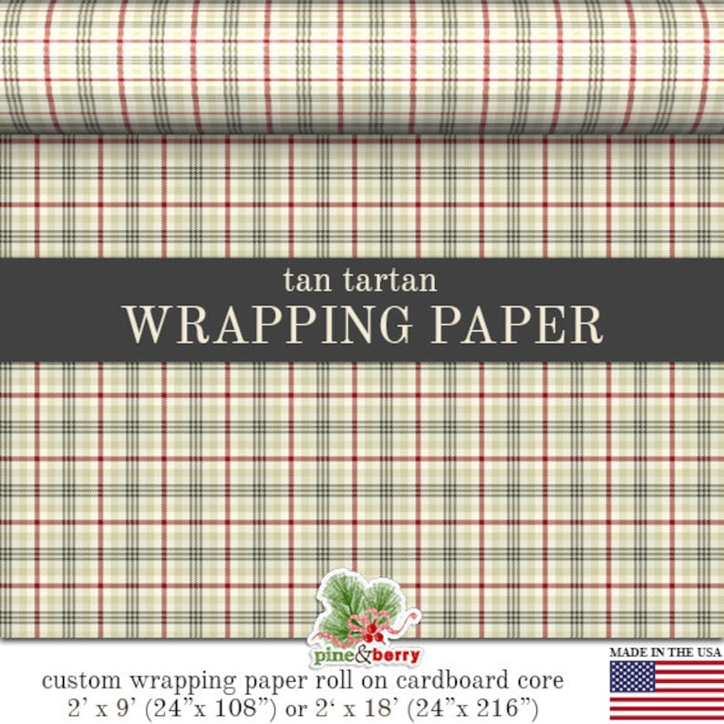 Tan Tartan Custom Wrapping Paper image 0