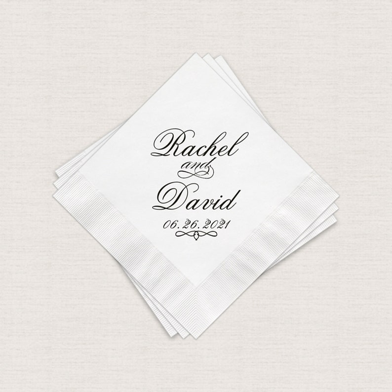 Wedding Napkins Personalized Cocktail Napkins 3 Ply Paper image 0