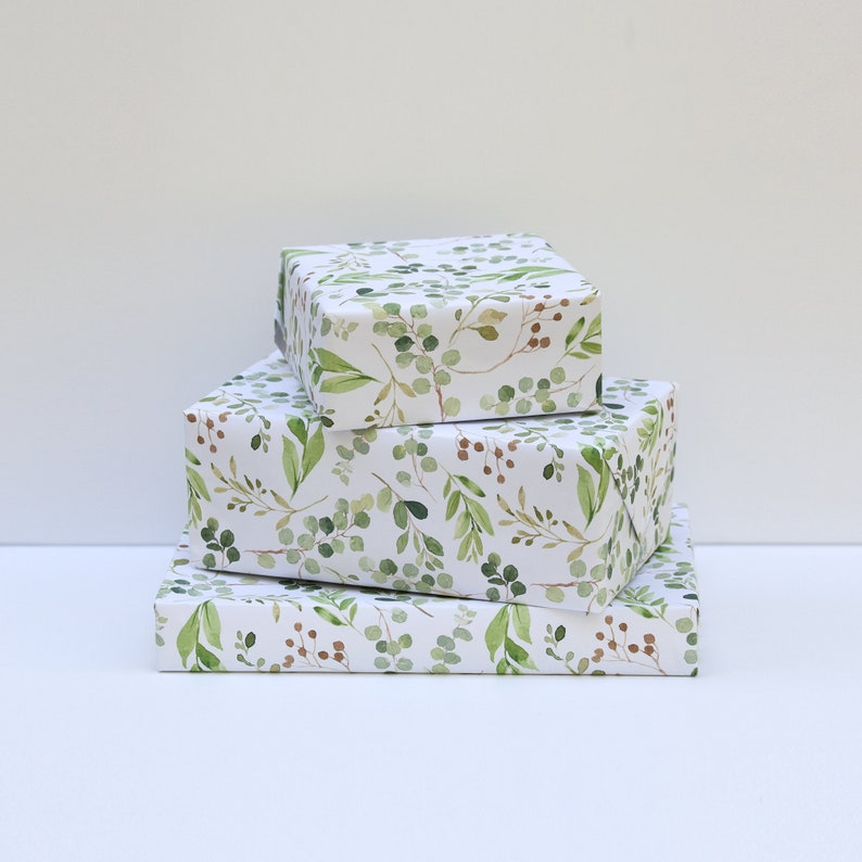 Gift Wrap Greenery Pattern Matte Wrapping Paper Wedding image 0