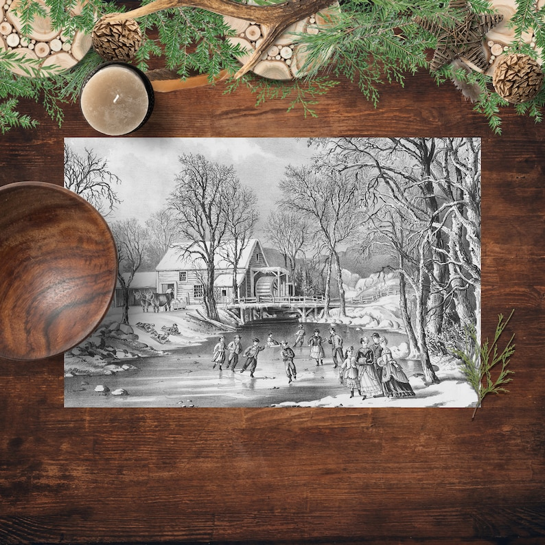 Party Placemats Vintage Winter Ice Skating Scene Printed image 0
