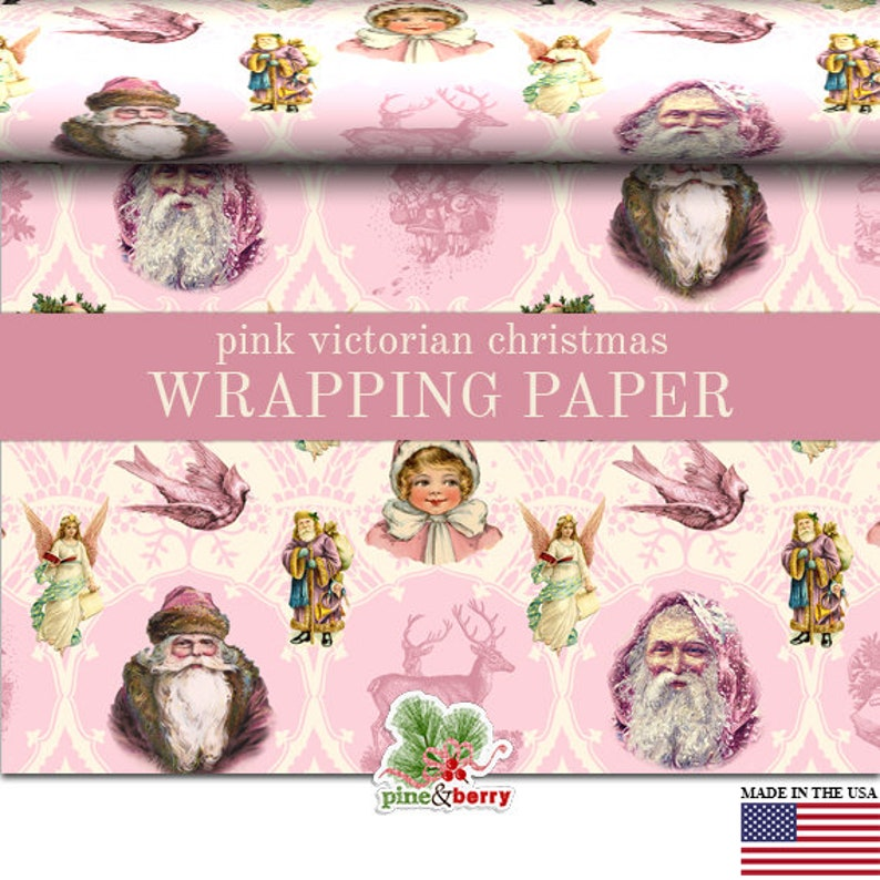 Pink Christmas Wrapping Paper Roll Victorian Pink Vintage image 0