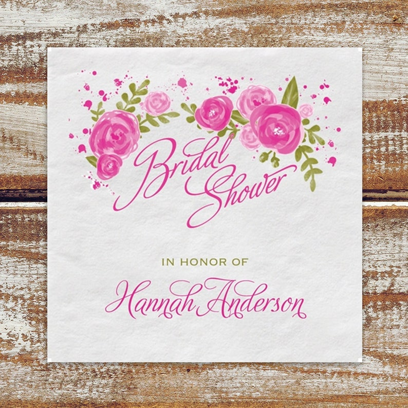 Bridal Shower Personalized Napkins Roses Floral Personalized image 0