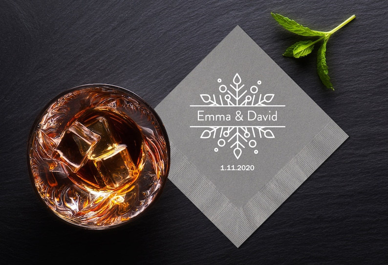 Winter Wedding Cocktail Napkins Snowflake Design Personalized image 0