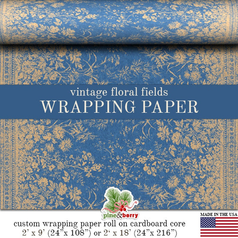 Vintage Floral Fields Wrapping Paper  Grungy  Blue Kraft image 0